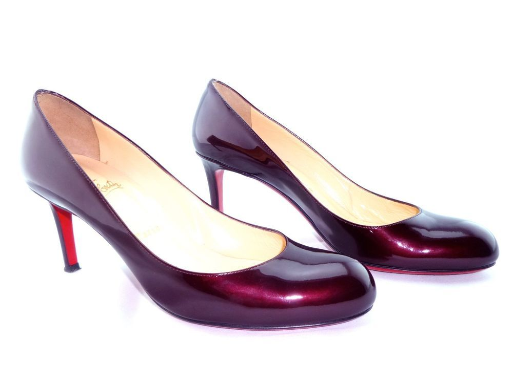 330039a76cb2 Christian Louboutin Low Heel Burgundy Simple 70 Patent Leather Pumps 38.5