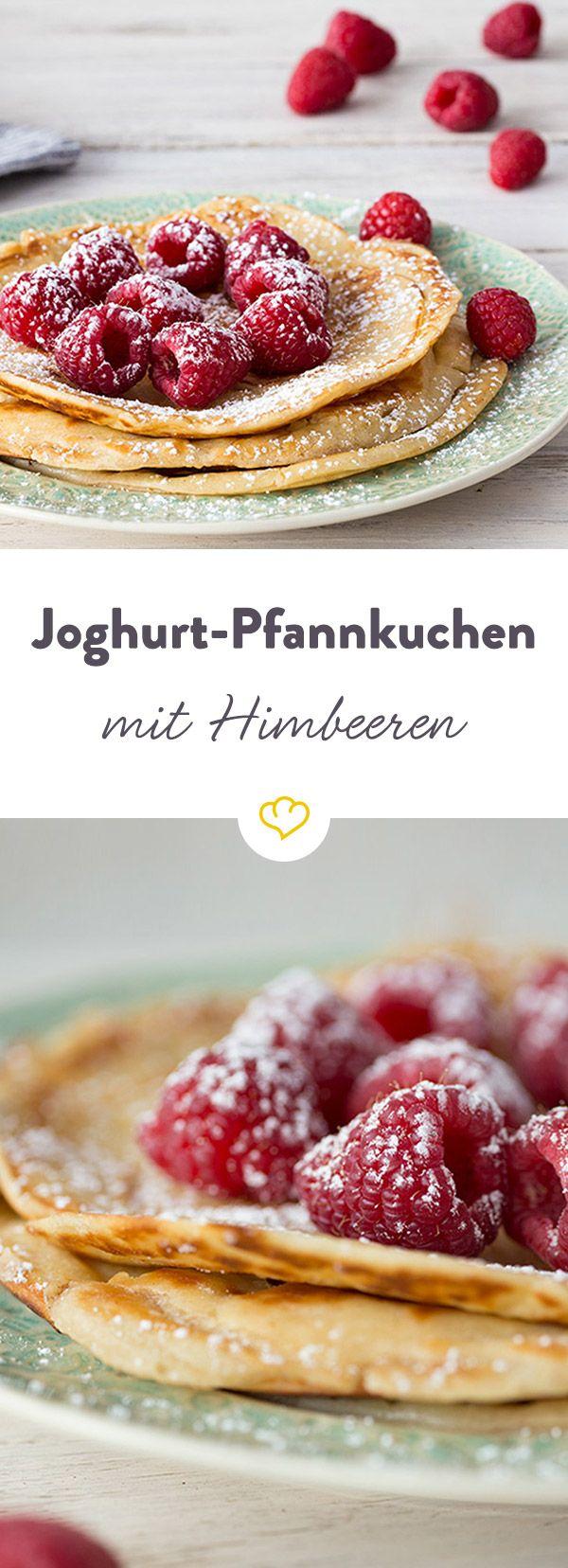 Joghurt-Pfannkuchen mit Himbeeren #healthyrecipes