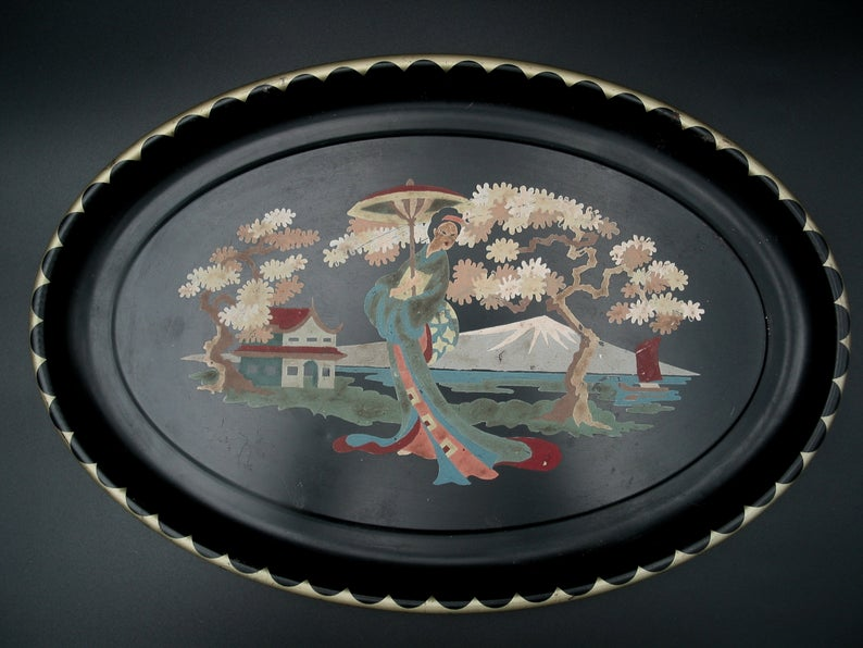 Vintage Paint By Number Tray With Asian Scene Decorative Toleware Tray Vintage 1950s Etsy In 2021 Vintage Painting Vintage Art Asian Scene