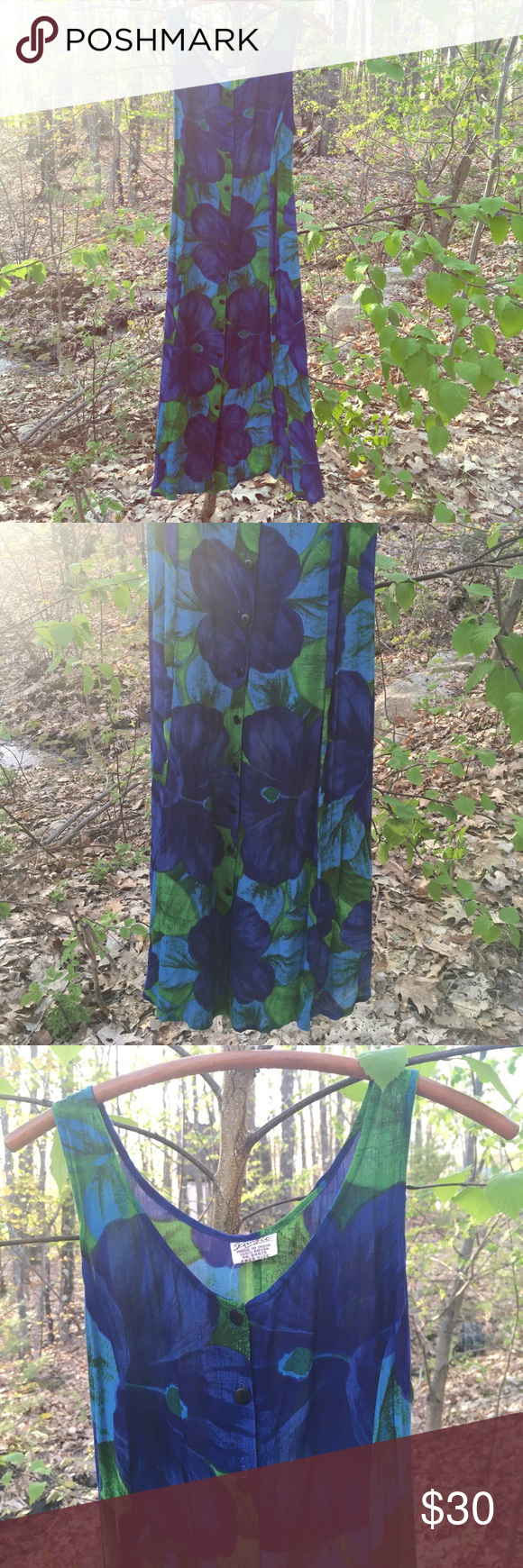 Vintage 90's Indian Gauze Dress Vintage gauzy dress. Deadstock, with tags. Never been worn. One size fits most, adjustable tie in back. Buttons all the way up. Beautiful blues and green floral print. Made in India. Vintage Dresses Maxi