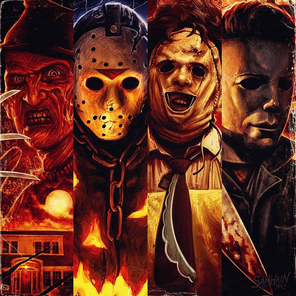Art Poster Print Freddy Krueger Jason Voorhees Michael Myers Halloween