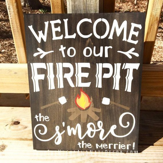 Home Design Gift Ideas: Welcome To Our Fire Pit, Outdoor Home Decor, Wedding Gift