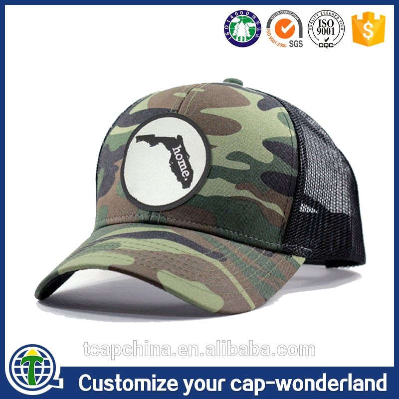 Custom 100% Cotton 6 Panel Applique Embroidery Patch Logo Camouflage  Baseball Mesh Caps CC Rope Trucker Hats Made in China b035f01ebee7