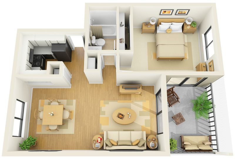 Incore residential bay club apartments floorplans bed for Studio apartment design 3d