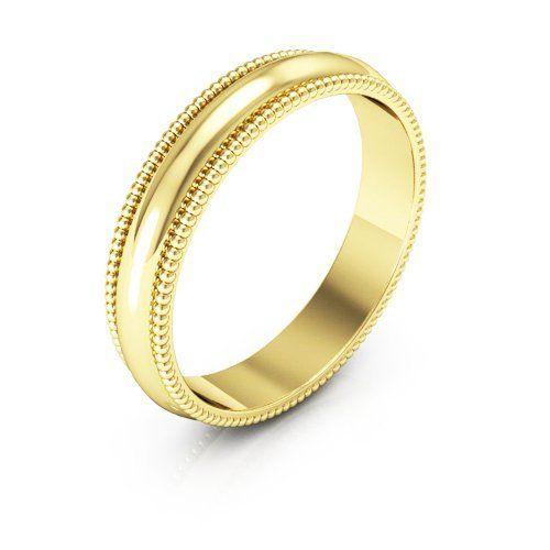 14k Yellow Gold Men S And Women Plain Wedding Bands 4mm Milgrain