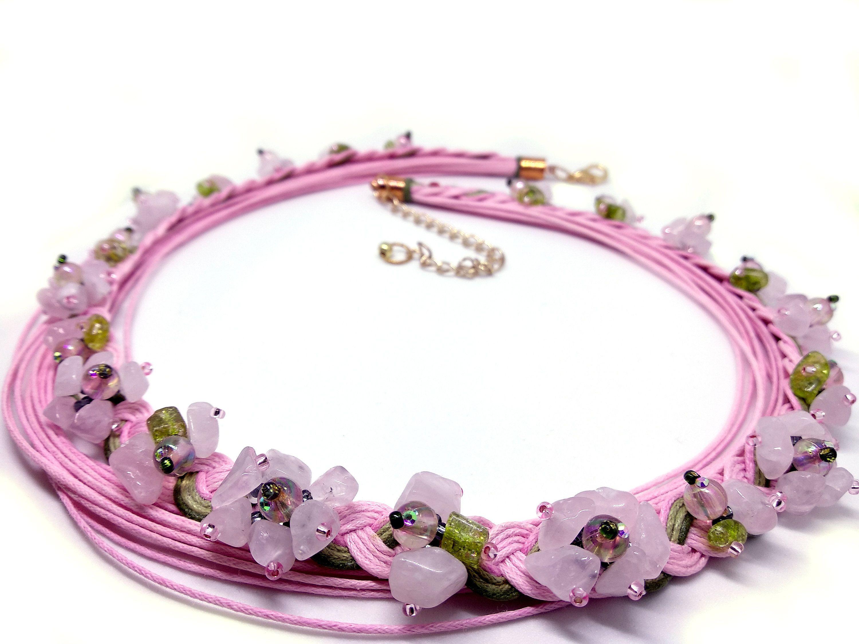 Statement necklace, Pink Quartz necklace, chunky necklace, bohemian necklace, braided necklace