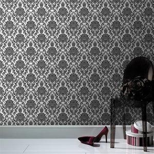 Damask wallpaper in black and white that can be use to