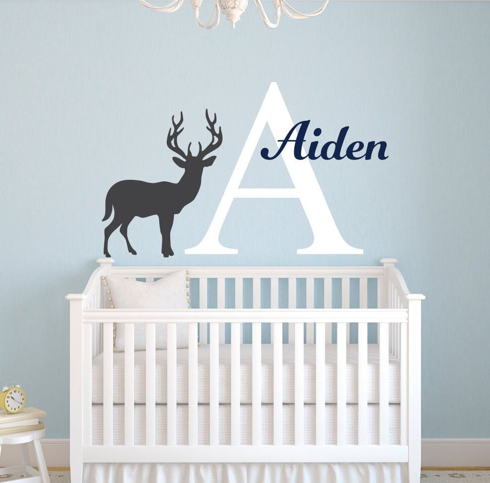 Deer Silhouette Wall Decal Custom Personalized Baby Name Vinyl - Custom vinyl wall decals deer