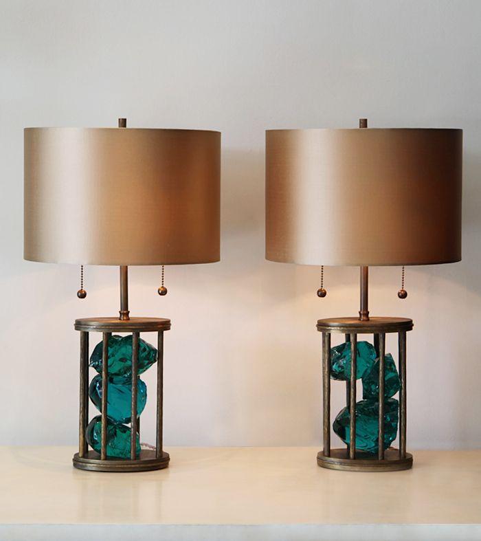 Pair of sylvia slag table lamps blackman cruz bedroom table lamps