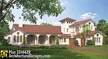 Plan 33144ZR: Luxury Home Plan With Tower Stair