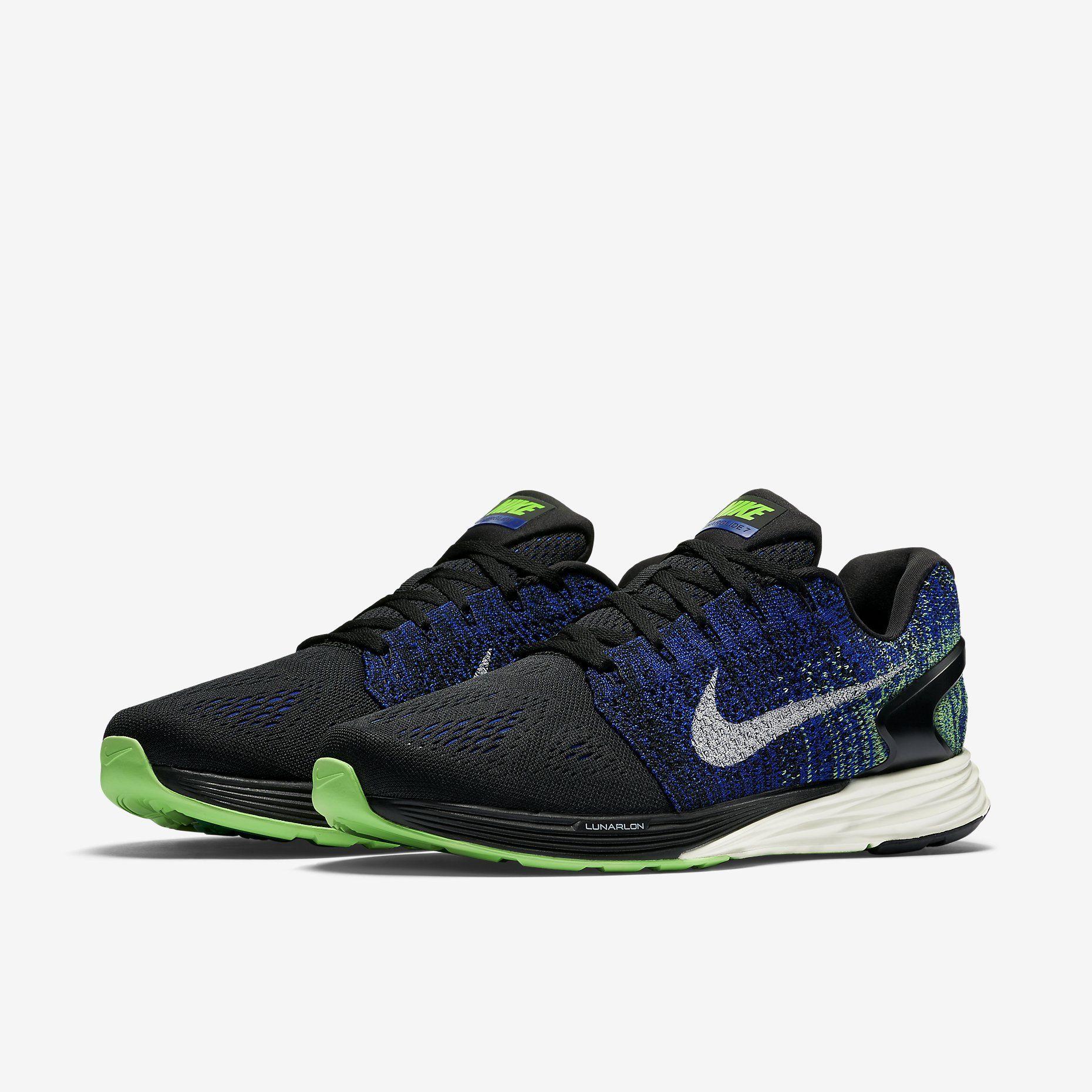 Nike LunarGlide 7 Mens Running Shoes Black/Racer Blue/Voltage Green/Sail 747355-005