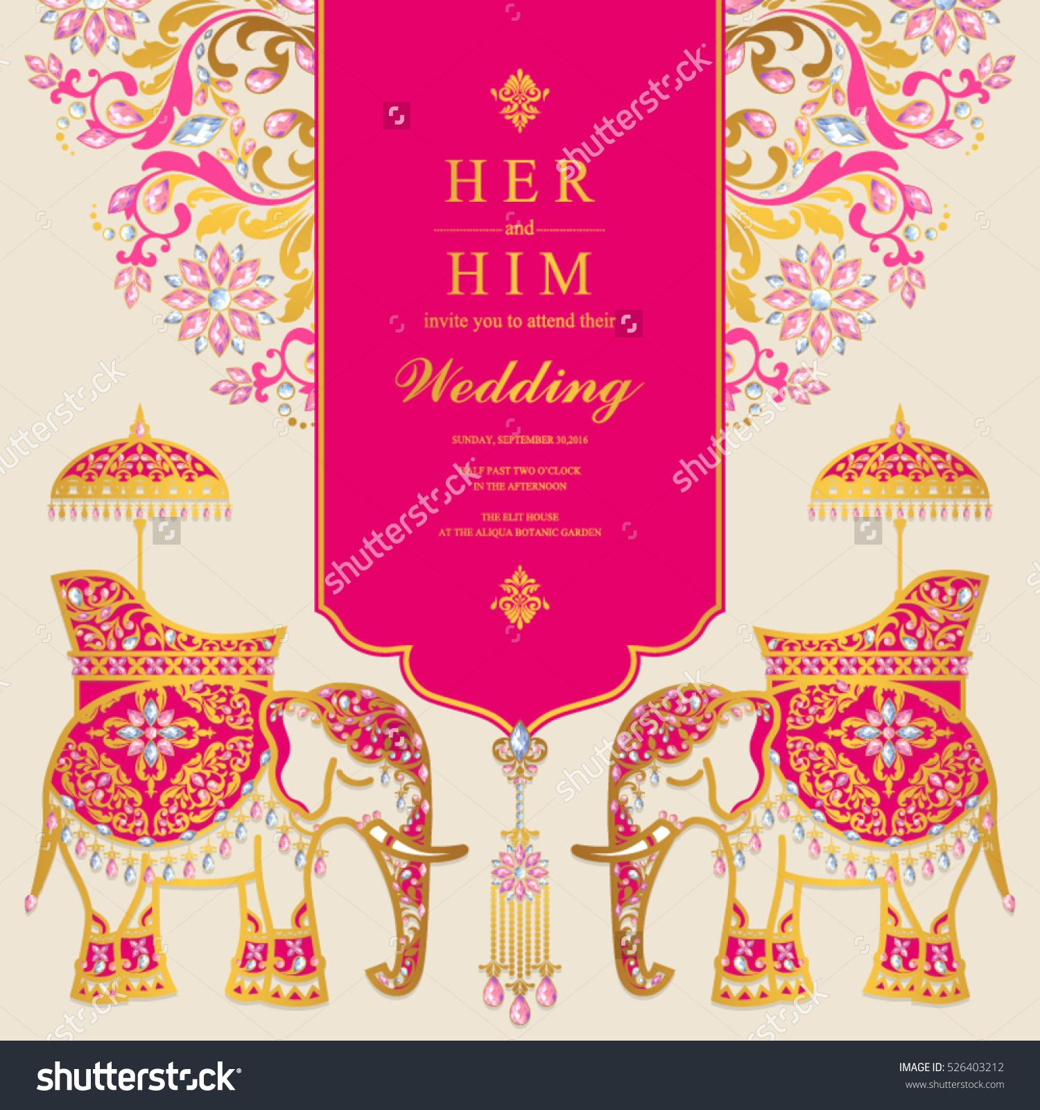 Indian wedding card, Elephant patterned gold and crystals color ...
