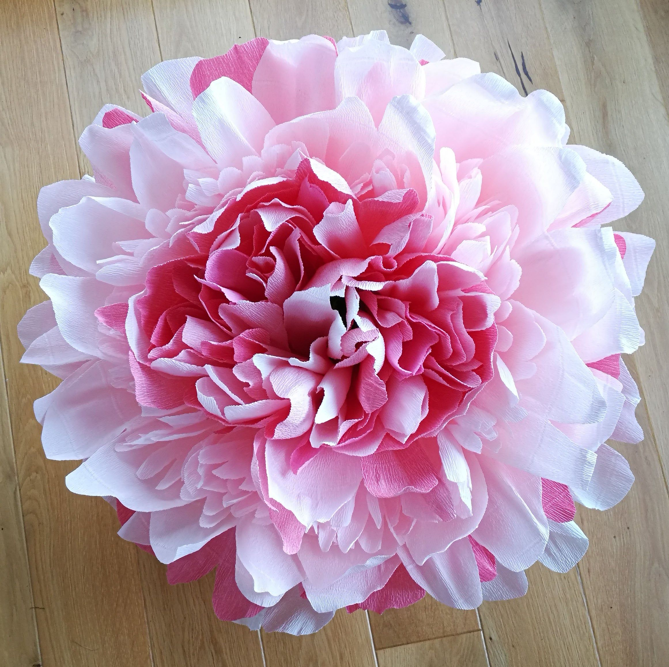Giant Pink Crepe Paper Peony Decoration Pink Peony Lamp Large