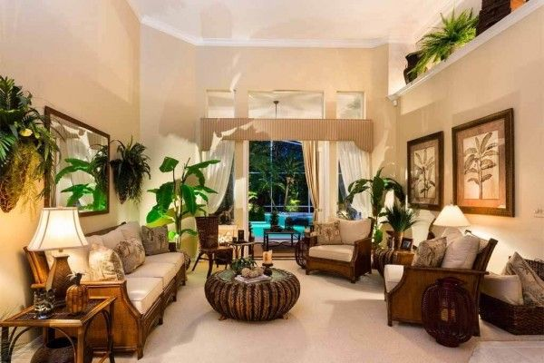 38 Gorgeous Tropical Style Decorating Ideas That Are Perfect For Summer Tropical Living Room Tropical Decor Living Room Minimalist Living Room Decor