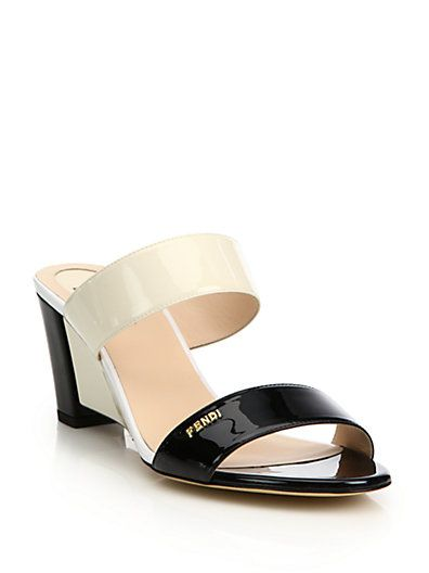 Fendi Patent Leather Slingback Wedges buy cheap footlocker 1sAGSkeJw