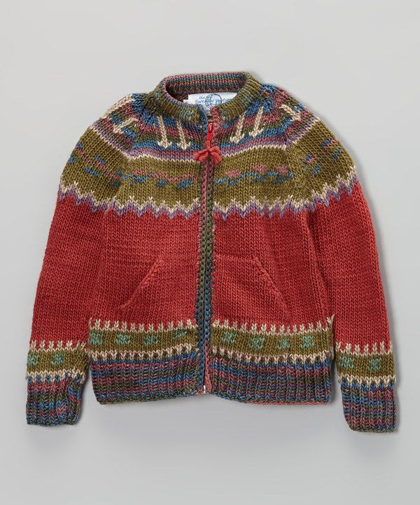 Take a look at this Red & Green Icelandic Zip-Up Sweater - Infant, Toddler & Girls on zulily today!