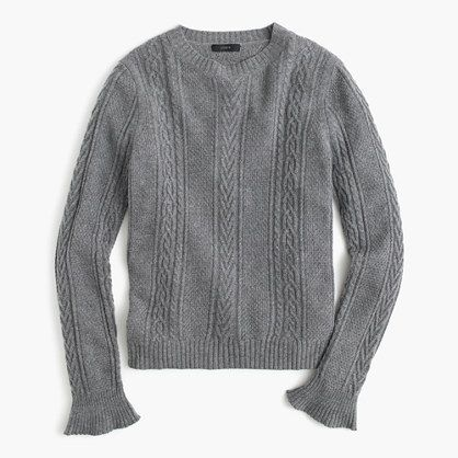 92e9207d74 Cable crewneck sweater with ruffle sleeves
