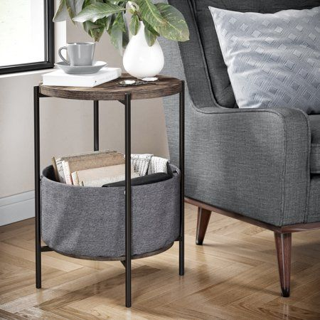 a093b8df9ab21 Ora Wood Side Table with Gray Fabric Storage