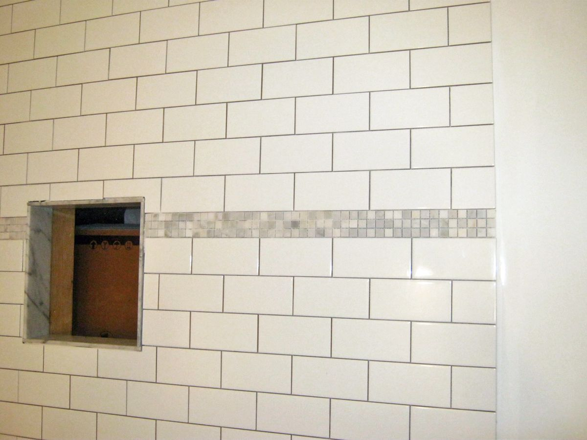 Shower stall wall tile 3x6 white subway mini carrara for Bathroom mosaic design