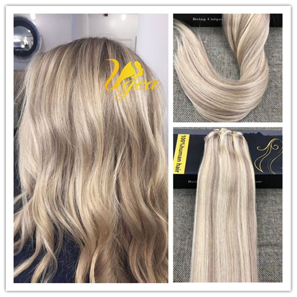 Balayage Highlight Ash Blonde Mix Bleach Blonderemy Clip In Human
