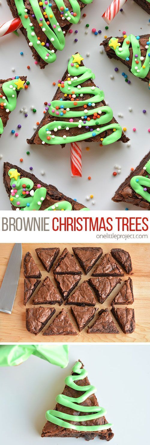 These Christmas tree brownies are so simple and they look adorable! Laundri ... -  These Christmas