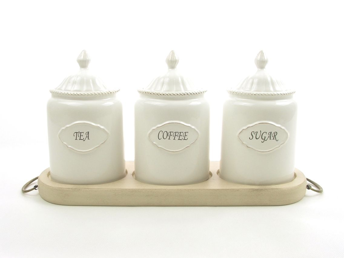 Coffee Tea Sugar Containers And Jars On A Stand The Home Decor Company