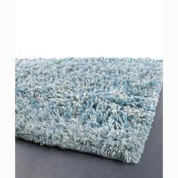 artist's loom hand-woven shag rug (7'9 round) | modern organic