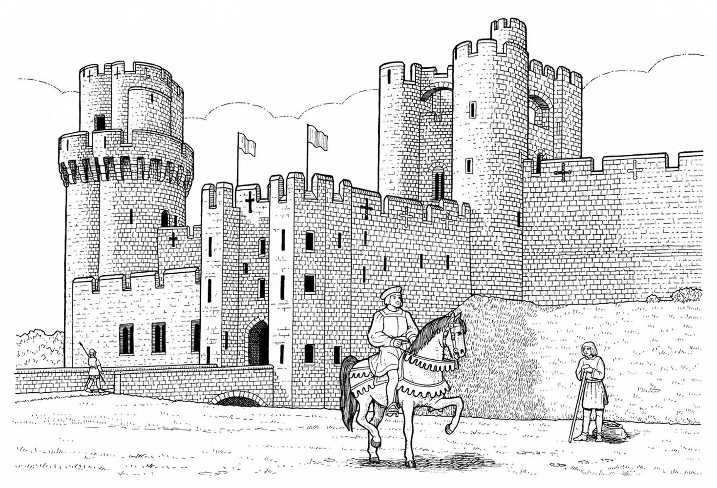 Warwick castle difficult realistic coloring pages for ...