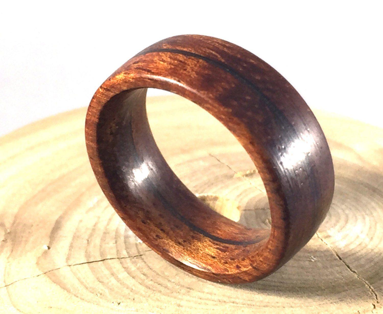 Mens Ring Wedding Wooden Wood Koa Band Jewelry