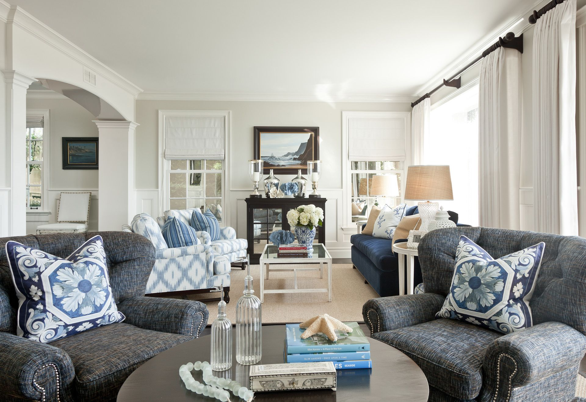 """In the living room, the dark Barclay Butera Home """"Regency"""" chairs ..."""