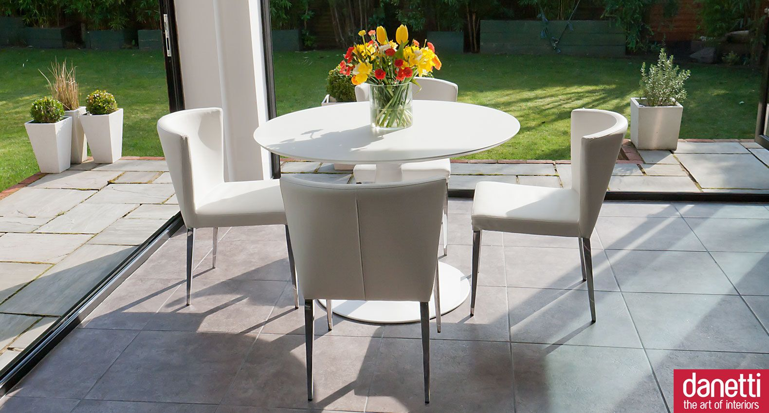 The Beautiful Vico Matt White Round Table Is Teamed Up Here With 4 Impressive Funky Dining Room Table And Chairs Design Inspiration