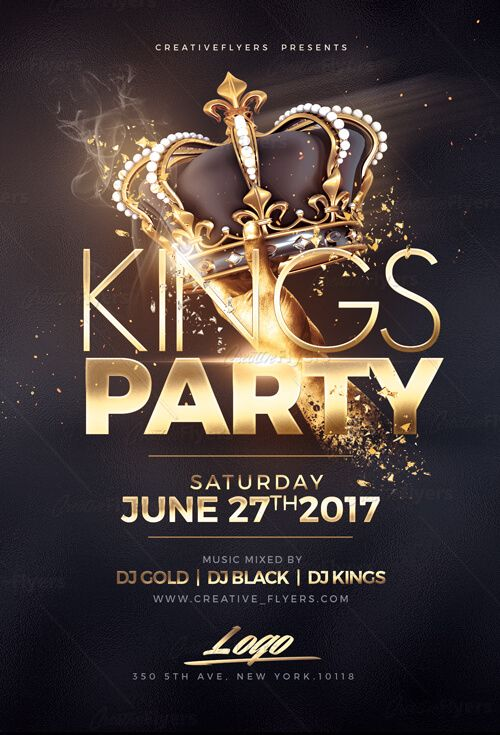 Night Of Kings Party Flyer Template PSD ~ Creative Flyers | Creative ...