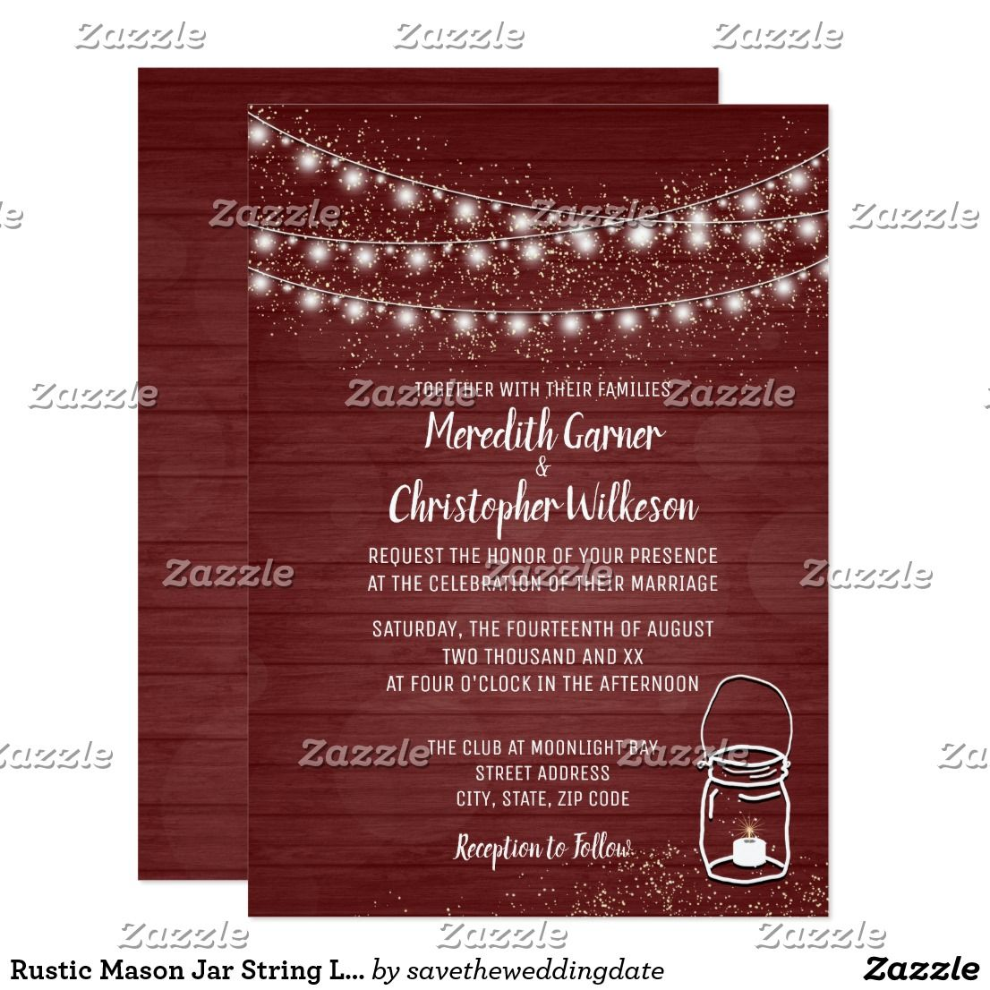 Rustic Mason Jar String Lights Wood Wedding Invitation | Wedding ...