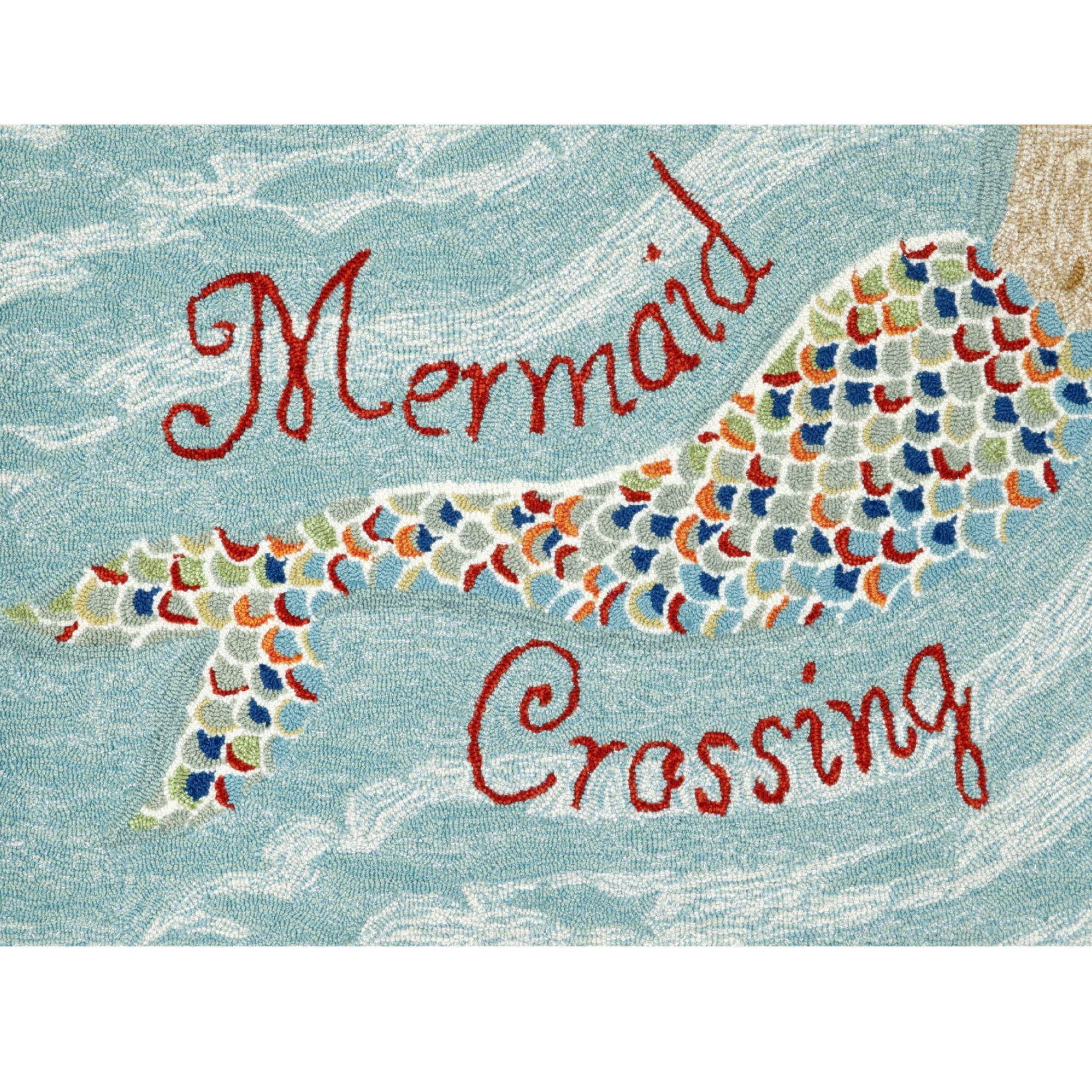 Ocean Inspired In Shades Of Ocean Blue The Mermaid Crossing 30 X 48 Mat Is Made Of Weather Resistant Fiber For Liora Manne Mermaid Decor Indoor Outdoor Rugs