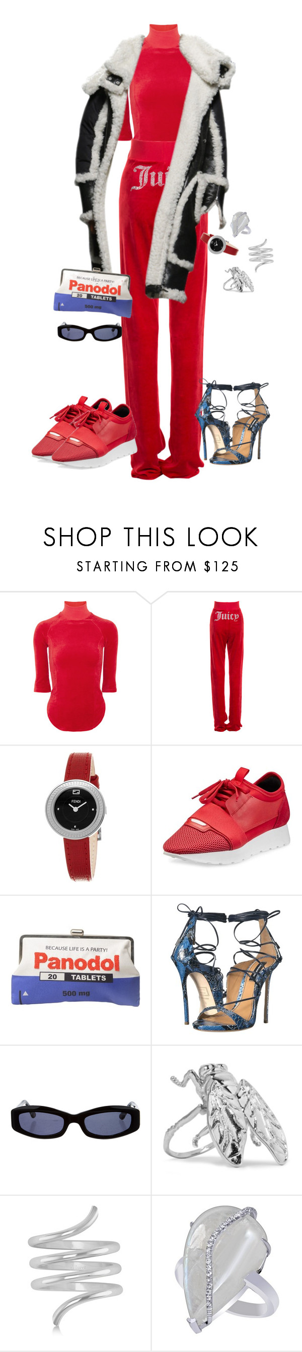 """""""Untitled #4214"""" by kimberlythestylist ❤ liked on Polyvore featuring Vetements, Juicy Couture, Fendi, Balenciaga, Sarah's Bag, Dsquared2, Chanel and Allurez"""