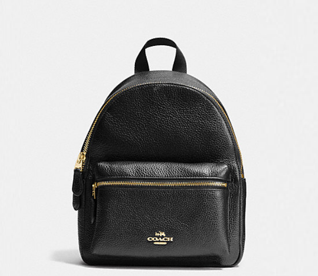 New Coach F28995 Mini Charlie Backpack In Pebble Leather Black