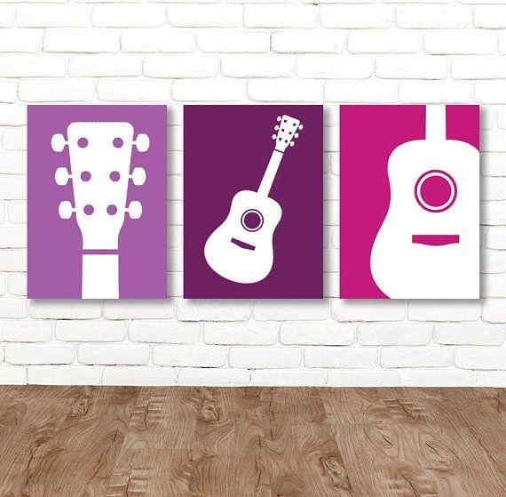 Girl Guitar Wall Art Music Theme Guitar Nursery Decor Girl Guitar Bedroom Pictures Music Rock And Roll Set Of 3 Guitar Wall Art Guitar Kids Custom Wall Art