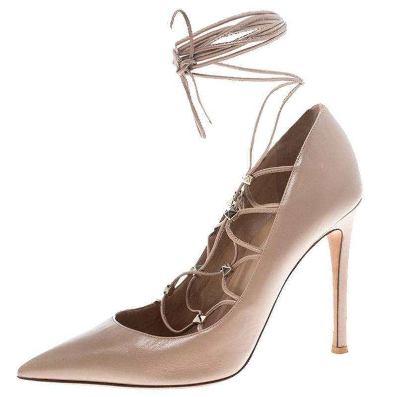 4c3a4d28d Valentino Beige Leather Rockstud Lace Up Pointed Toe Pumps Size 38 ...