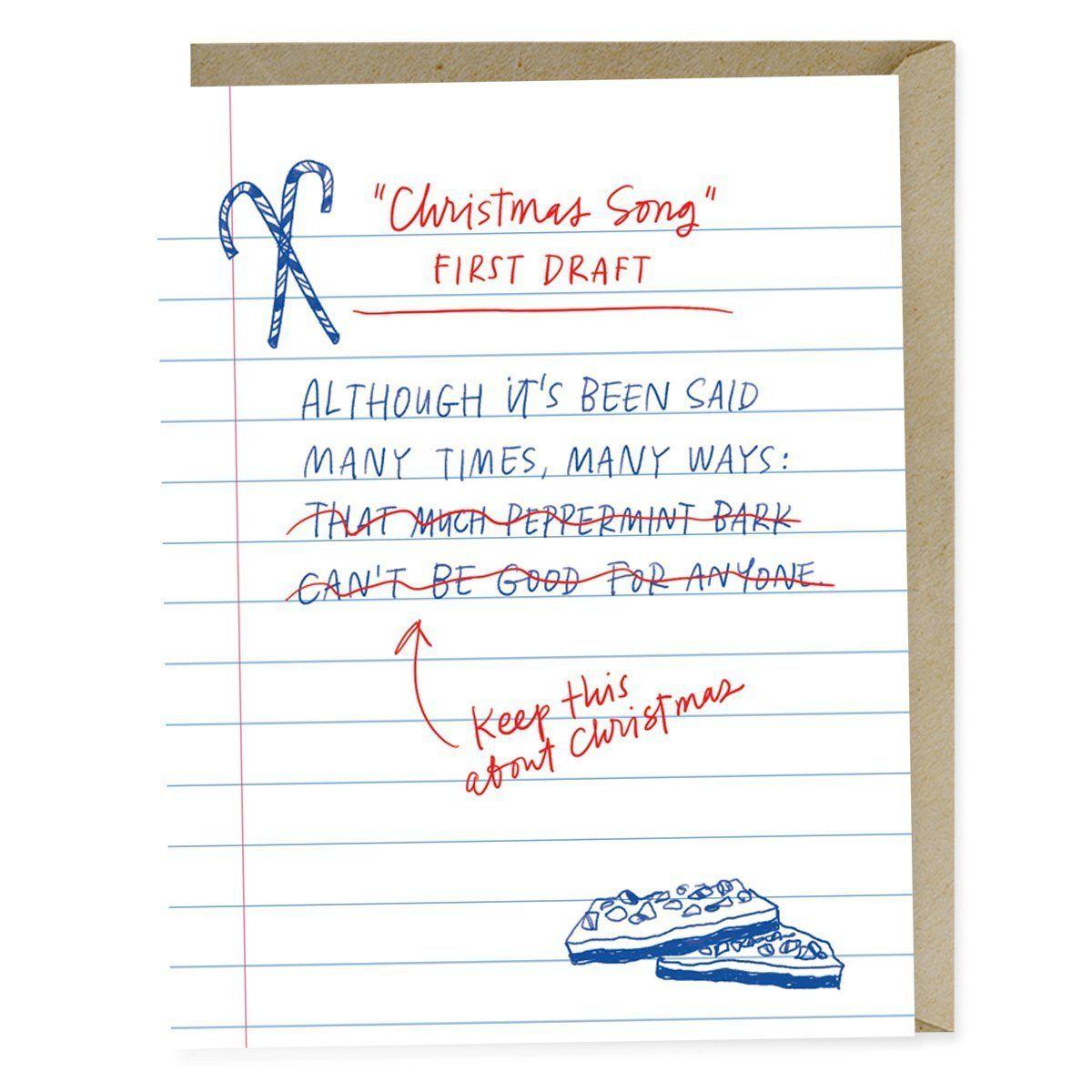 First Draft Lyrics Christmas Song Card in 2020 Christmas