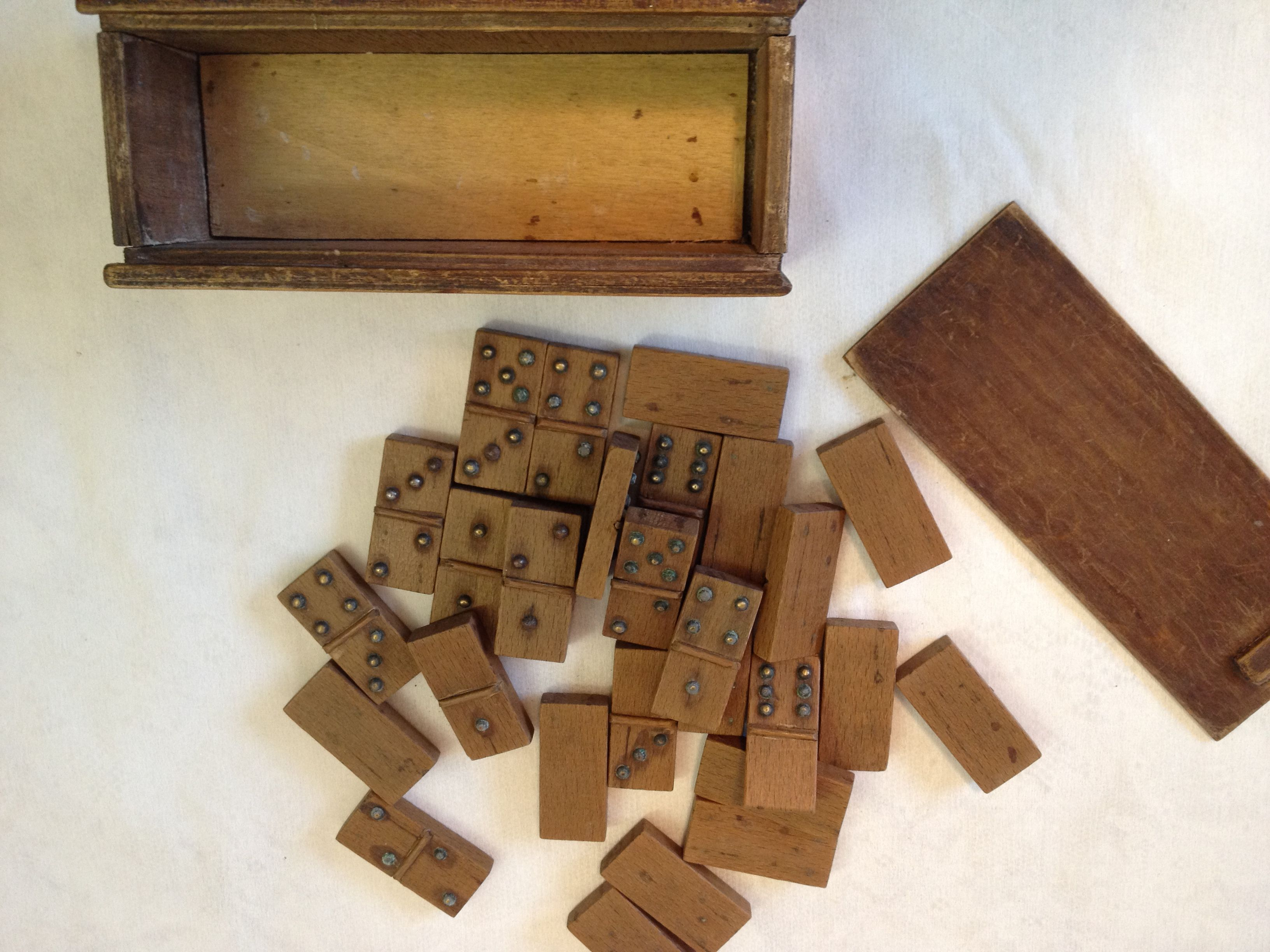 Antique Wood Dominoes With Brass Numerals C 1910 Other