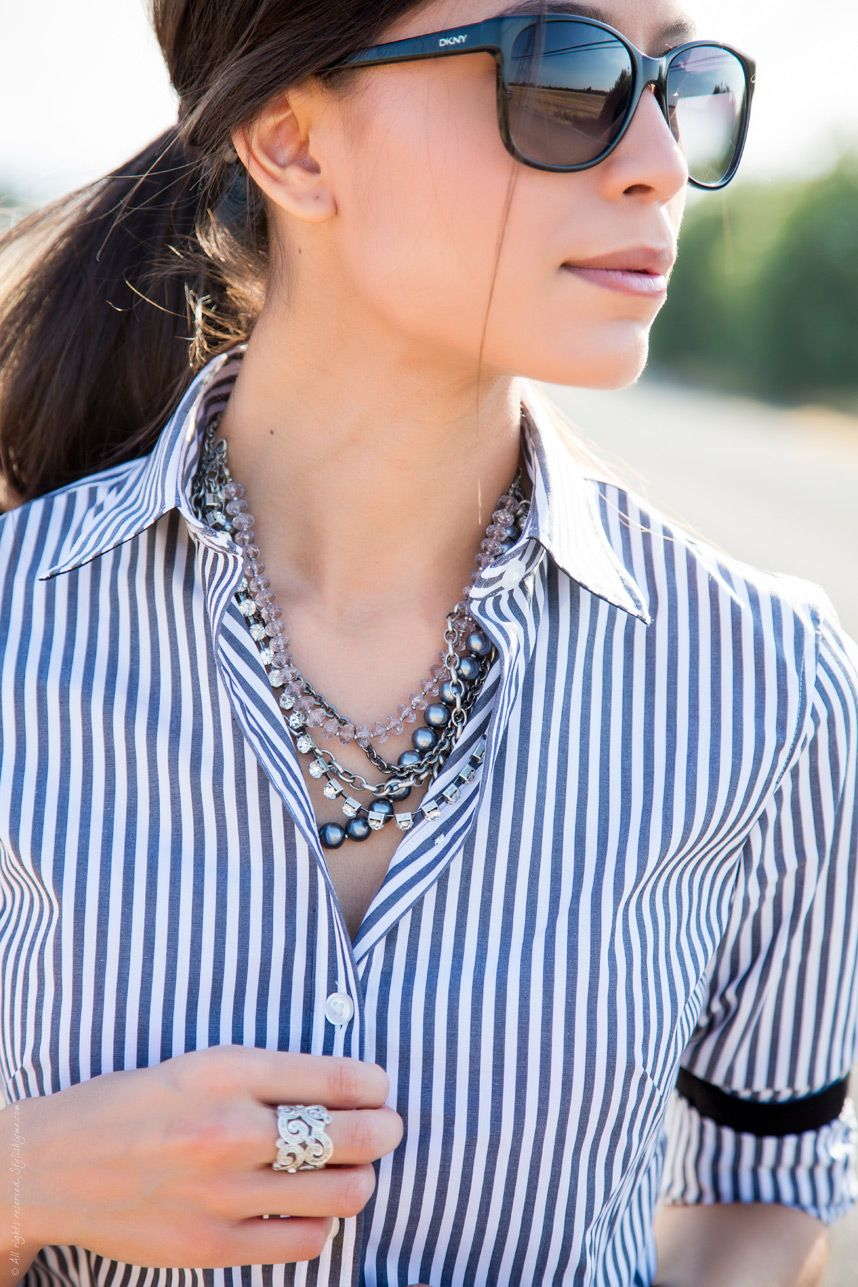 1f59902aefa Silver accessories and striped collared shirt - Visit Stylishlyme.com for more  outfit photos and style tips