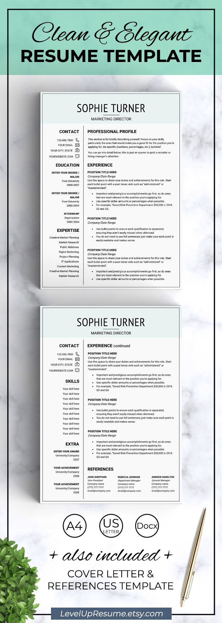 Modern Resume Template Resume Design Career Advice Job Search