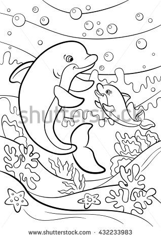 Coloring Pages Marine Wild Animals Mother Dolphin Swims With Her Little Cute Baby Underwater