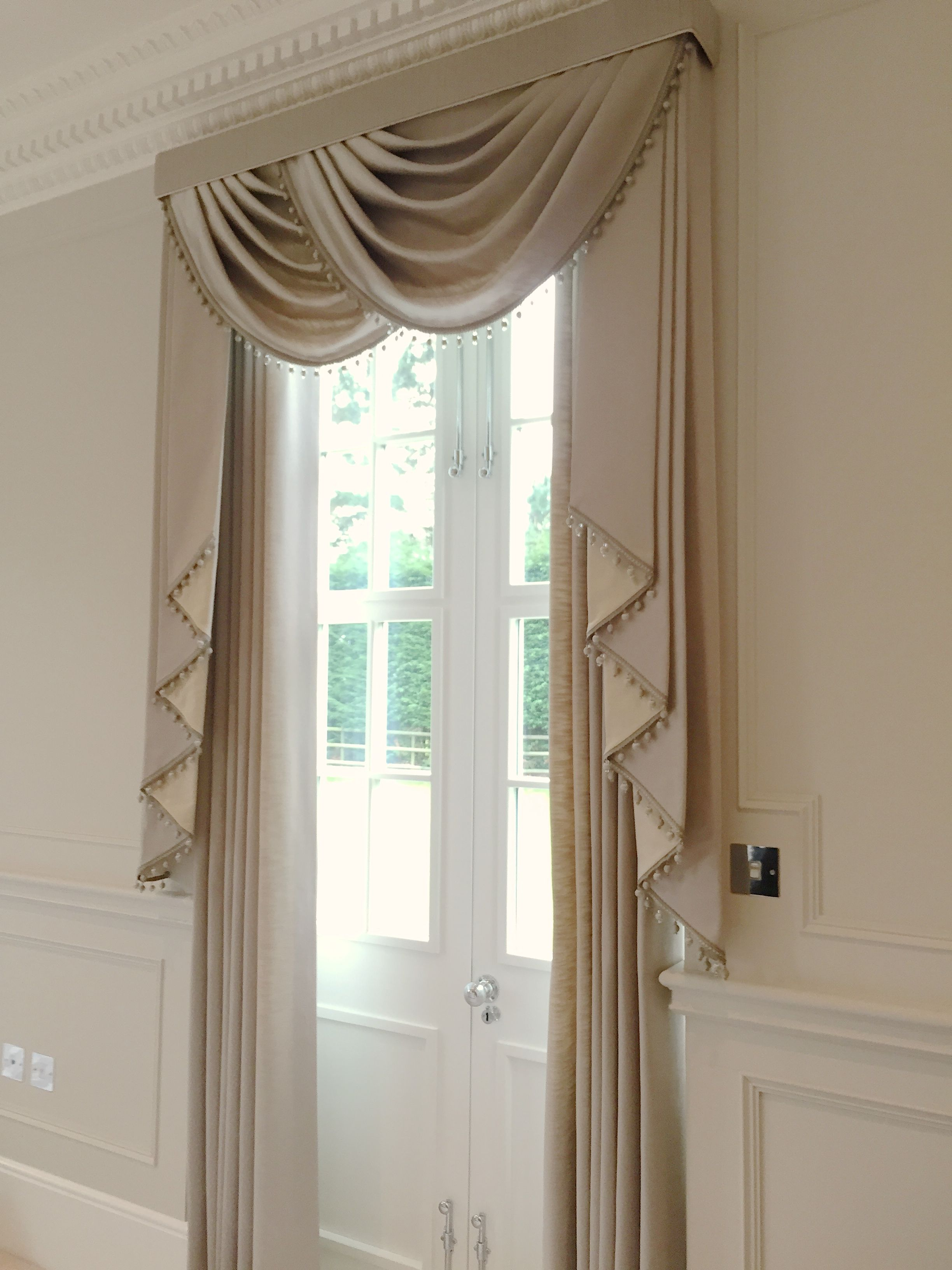 We created these stunning luxurious window treatments for Window design with curtains