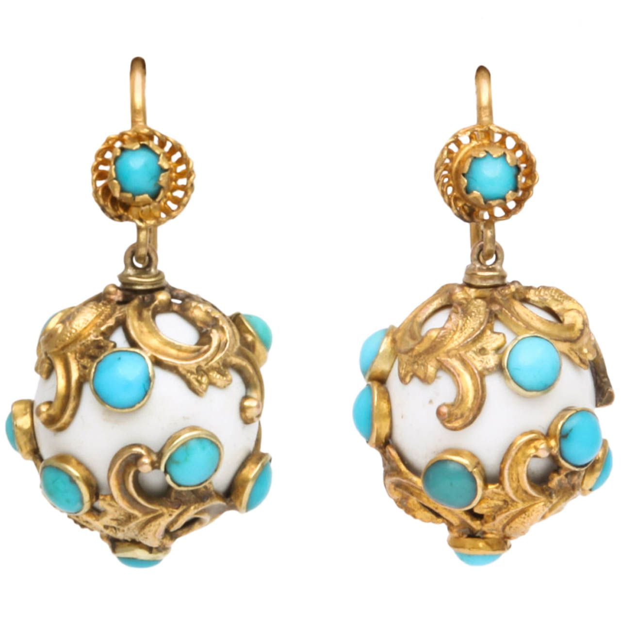 Eternal Summer Victorian Enamel Turquoise Earrings 1stdibs