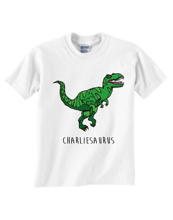 4e63cefc0f425 Childrens Custom Dinosaur Name T-Shirt T-Rex by JurassicPanda ...