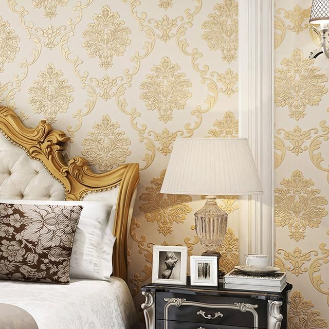 european style nonwoven luxury damask wallpaper 3d relief