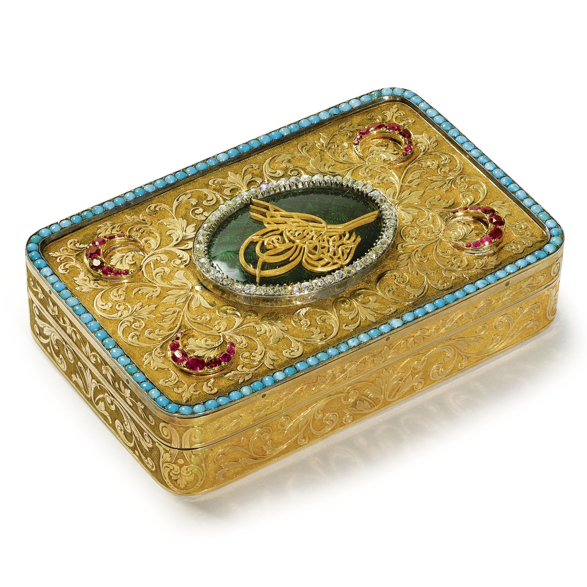 A Swiss gold and gem-set large snuffbox for the Turkish market, 19th century | lot | Sotheby's