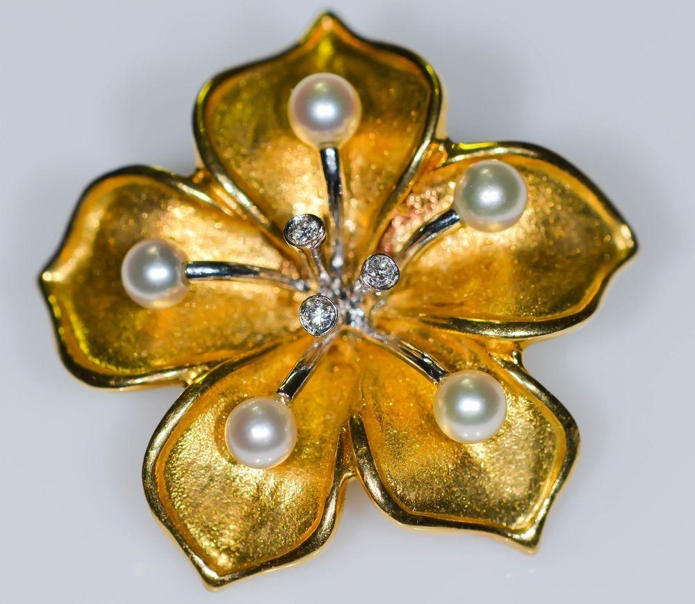 18k Two Tone Gold Cultured Pearl and Brilliant Diamond Bolo clip Pearl Enhancer  #Handmade #goldpearlenhancer  #GoldPearlDiamondEnhancer #BellmanJewelers #BellmansOnlineStore