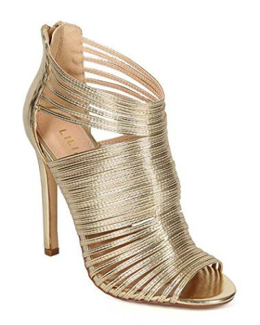 Metallic Caged Peep Toe Cutout Stiletto #Shoes #Women #Heels #Stiletto #Gold